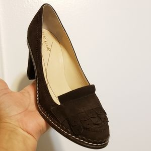 Kate spade suede fringe kiltie heeled loafer, shoe